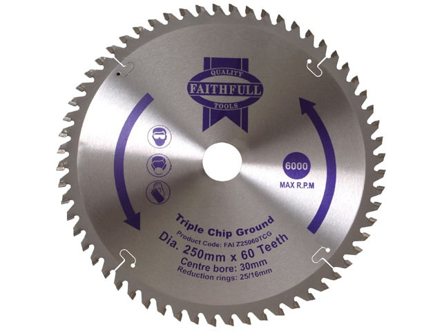 Circular Saw Blade 250 x 30mm x 60T TCG Fine Finish