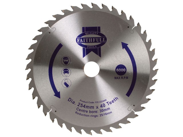 Circular Saw Blade 254 x 16/25/30mm x 40T Fine Cross Cut
