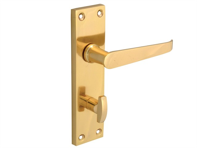 Backplate Handle Bathroom - Straight Victorian Brass Finish 150mm