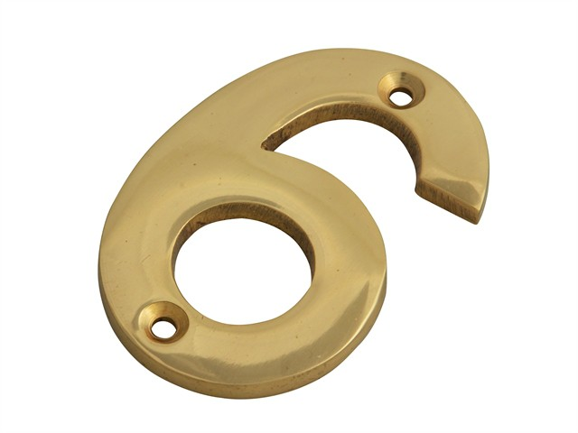 Numeral No.6 - Brass Finish 75mm (3in)