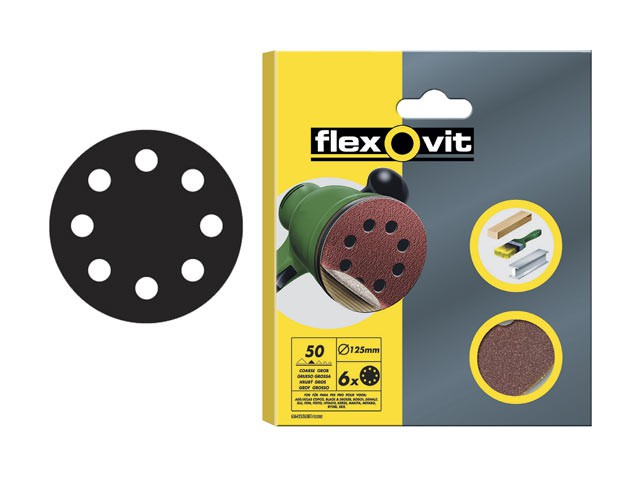 Hook & Loop Sanding Discs 125mm Fine 120g (Pack of 6)