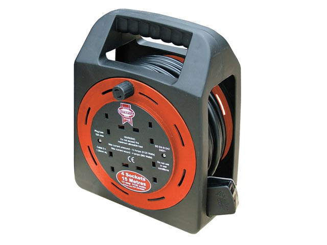 Easy Reel Cable Reel 15 Metre 13 Amp with 4 Socket 240 Volt