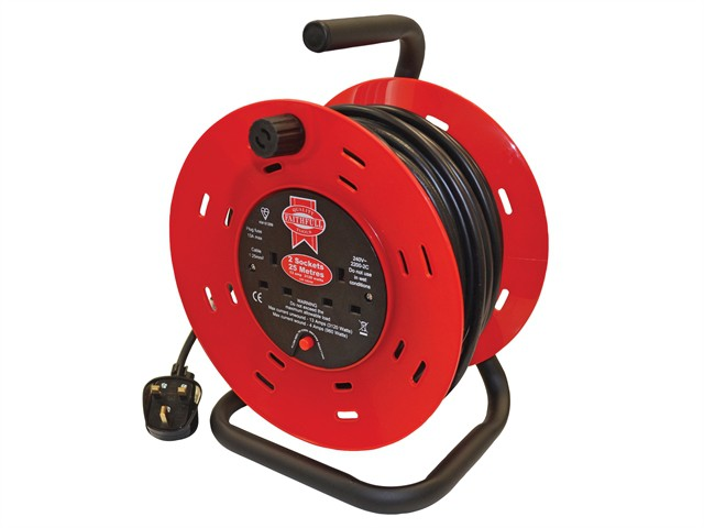 Open Drum Cable Reel 240 Volt 25 Metre 13 Amp 2 Socket