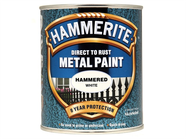 Direct to Rust Hammered Finish Metal Paint White 750ml