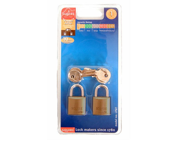 LP6T Leopard Brass Padlock 20mm (Card of 2)