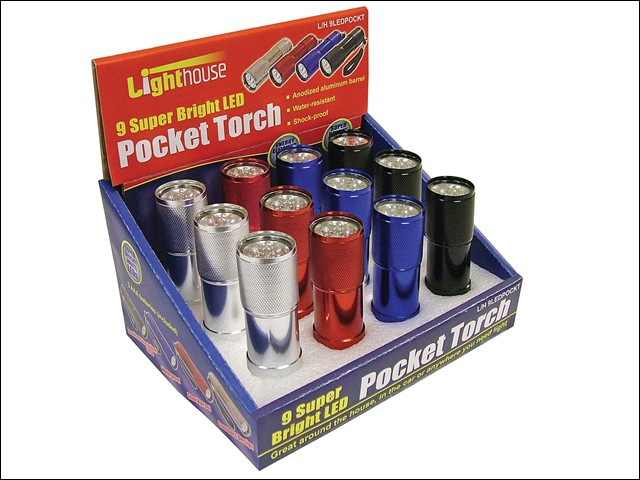 Super Bright 9 LED Pocket Torch (Display of 12)