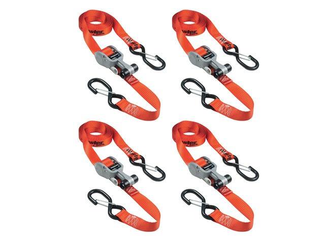 Ratchet Tie-Down S Hooks 4.25m Red 4 Piece