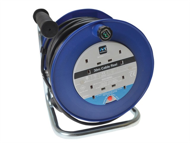 Heavy-Duty Cable Reel 30 Metre 4 Socket 13A Thermal Cut-Out 240 Volt