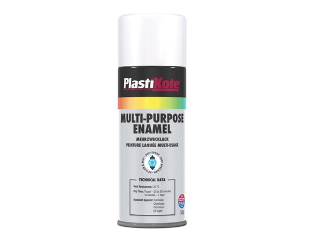 Multi Purpose Enamel Spray Paint Matt White 400ml