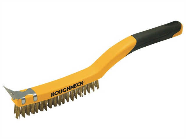 Carbon Steel Wire Brush Soft Grip with Scraper 355mm (14in) - 3 Row