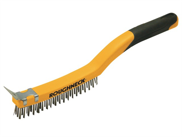 Brass Wire Brush Soft Grip with Scraper 355mm (14in) - 3 Row