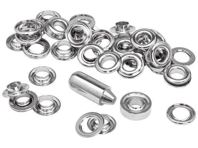 Grommets 10 x 21mm (25) + Metal Anvil & Hammer