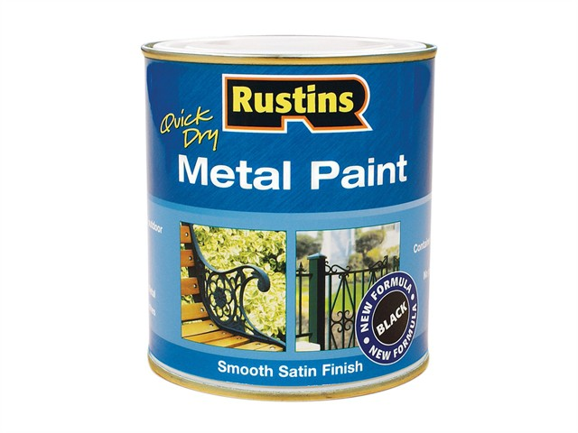 Quick Drying Metal Paint Smooth Satin Black 1 Litre