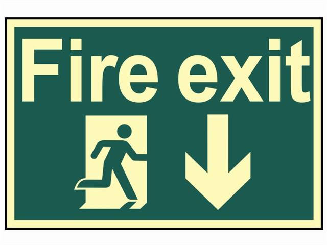 Fire Exit Running Man Arrow Down - Photoluminescent 300 x 200mm