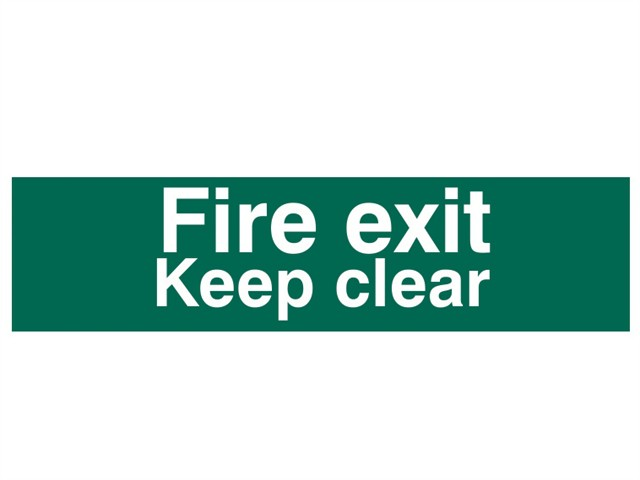 Fire Exit Keep Clear text Only - PVC 200 x 50mm
