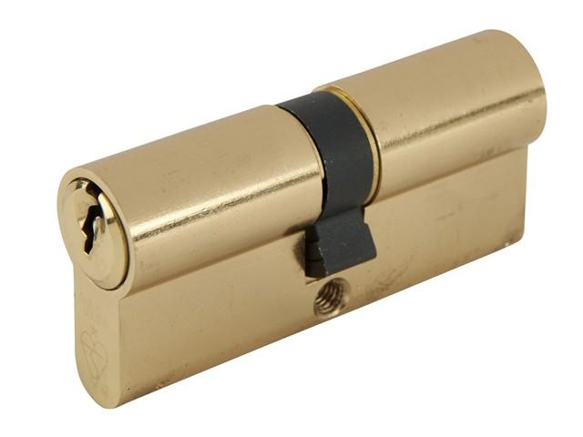 Euro Double Cylinder Kitemark 30 x30 (70mm) Polished Brass Visi
