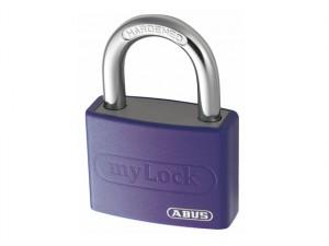 T65AL/40mm My Lock Aluminium Padlock Violet Keyed Alike 6401