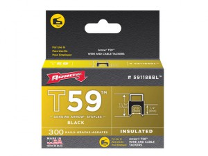 T59 Insulated Staples Black 6 x 8mm Box 300