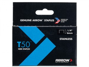 T50 Staples Stainless Steel 504SS 6mm (1/4in) Box 1000