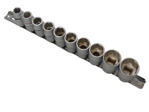 Sockets On Rail Set of 10 Metric 1/2in Drive