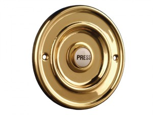 2207/P1 Round Wired Bell Push Flush Mounted Brass