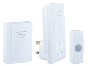 B323 Wireless Doorbell Kit with Portable & Plug Through Chimes 50m