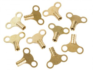 Brass Clock Type Radiator Keys (Pack of 10)