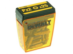 DT7908 Torsion Pozidrive Bits PZ2 25mm Flip Box of 25