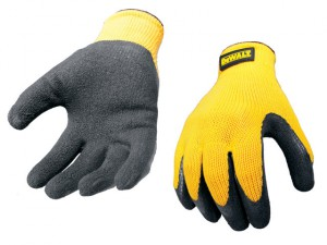 DPG70L Yellow Knit Back Latex Gloves - Large