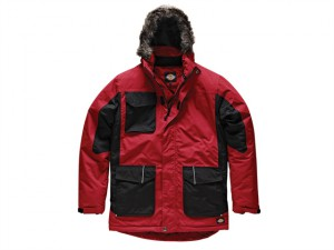 Two Tone Parka Jacket Red/Black - L (44-46in)