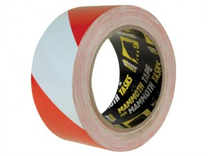 PVC Hazard Tape Red / White 50mm x 33m