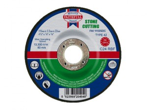 Depressed Centre Stone Cutting Disc 115 x 3.2 x 22.23mm