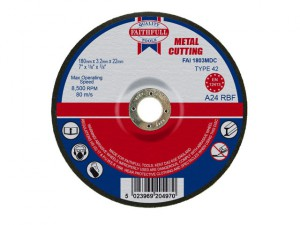 Depressed Centre Metal Cut Off Disc 180 x 3.2 x 22mm