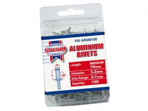 Aluminium Rivets 3.2mm x 10mm Medium Pre-Pack of 100