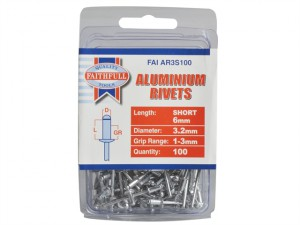 Aluminium Rivets 3.2mm x 6mm Short Pre-Pack of 100