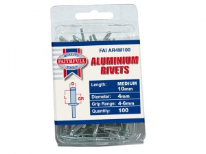 Aluminium Rivets 4mm x 10mm Medium Pre-Pack of 100