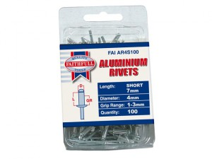 Aluminium Rivets 4mm x 7mm Short Pre-Pack of 100