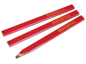 Carpenter's Pencils - Red / Medium (Pack of 3)