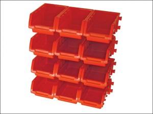 12 Plastic Storage Bins with Wall Mounting Rails