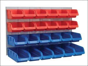 24 Plastic Storage Bins with Metal Wall Panel