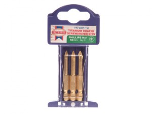 Phillips 1 Titanium Coated Screwdriver Bits x 50mm Pack of 3