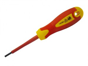 VDE Soft Grip Screwdriver Parallel Slotted Tip 5.5 x 125mm