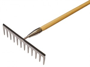 Garden Rake Stainless Steel with Wooden Handled