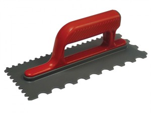 Notched Trowel V 4mm & Round 7mm Plastic Handle 11 x 4.1/2in