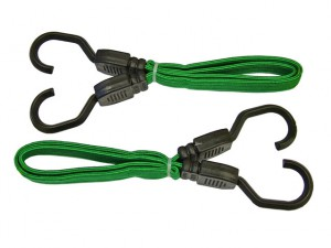 Flat Bungee Cord 60cm (24in) Green 2 Piece