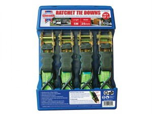 Ratchet Tie-Downs 5m x 25mm Green 4 Piece