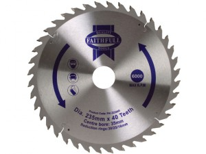 Circular Saw Blade TCT 235 x 16/20/30/35mm x 40T Fine Cross Cut