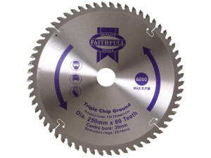 Circular Saw Blade 250 x 30mm x 60T TCG Fine Finish