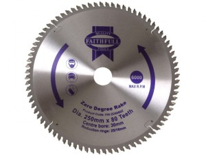 Circular Saw Blade 250 x 16/25/30mm x 80T Zero Degree