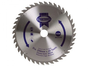 Circular Saw Blade 254 x 16/25/30mm x 40T Fine Cross Cut